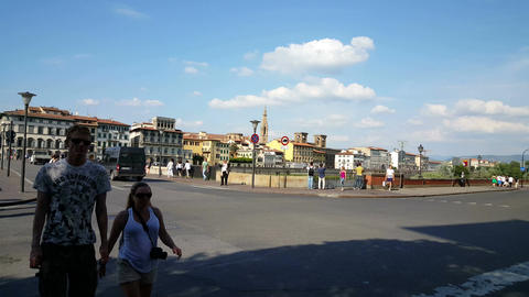 Bridge over Arno river, skyline Florence Footage