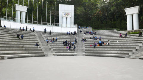 Amphitheater full of young scholars, with sound, slide shot Footage