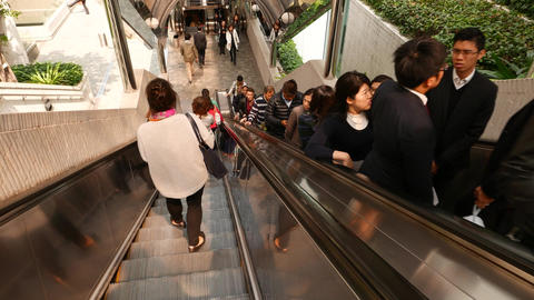 Outdoor escalator, office people travelling up Footage