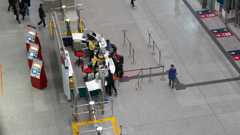 Info Desk And Counter From Above, Modern Station Concourse stock footage