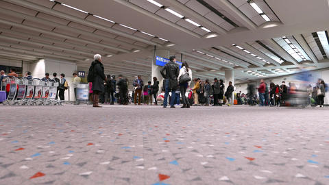 Passengers line in gate area, waiting for boarding, TIMELAPSE Footage