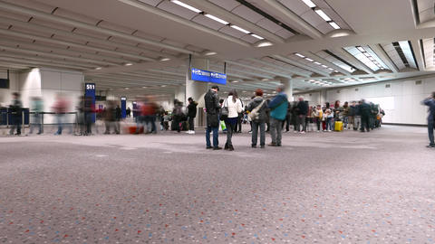 Departure gate queue, still people foreground, TIMELAPSE Footage