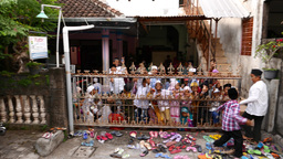 Loud children crowd behind infant school gate, looking and cry to camera Footage