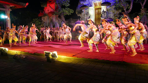 Main hero raised up on hands of many people, balinese performance show Footage