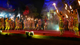 Theatrical duel at night Balinese performance, main villain fight against hero Footage