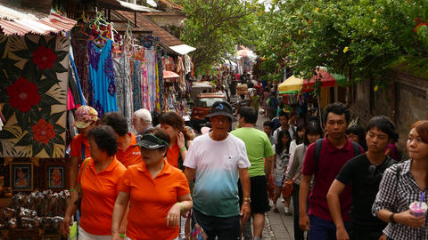 Crowded Market Street In Ubud, Overhead Perspective Shot, People Walking stock footage
