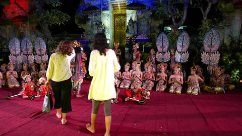 Tourists take pictures with theatre troupe after Balinese night performance Footage
