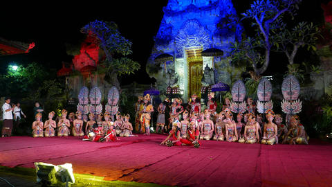 Full troupe posing after show, night Balinese performance stage Footage