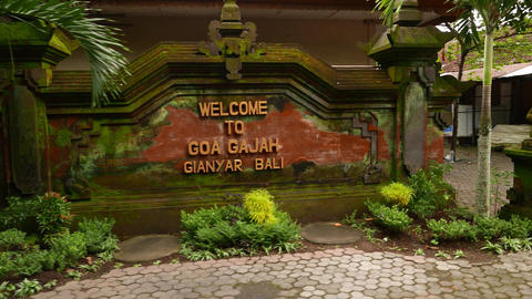 Goa Gajah signboard parallax shot, close view of the welcome plate Footage