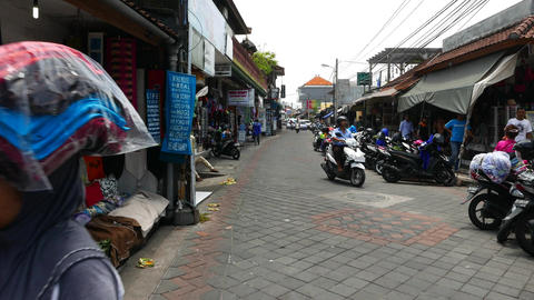 Typical resort town street, souvenirs, beach accessories, handcraft, gift, curio Footage