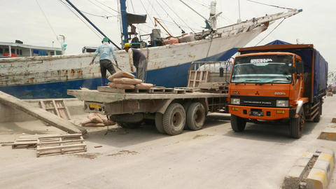 Heavers throw dusty saks on ground, unloading truck at old port, parallax shot Footage