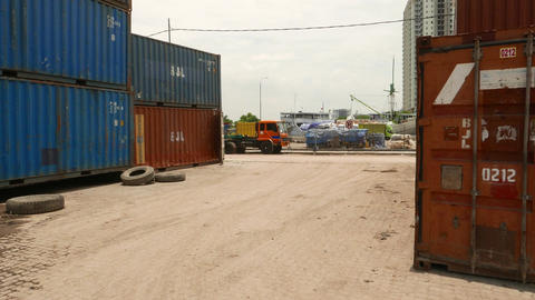 Set of 20ft intermodal containers in Jakarta old port, glide camera Footage
