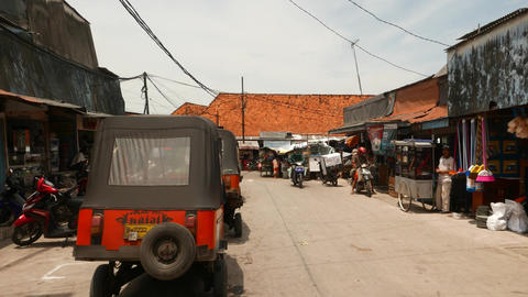 Wide Road To Slum Area, Fish Market Passage, Sunda Kelapa Harbor stock footage