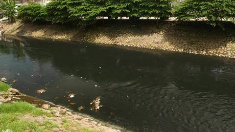 Black polluted river flow, floating trash and city waste Stock Video Footage