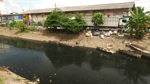 Extremely polluted water in city river, urgent problem in Jakarta Live Action