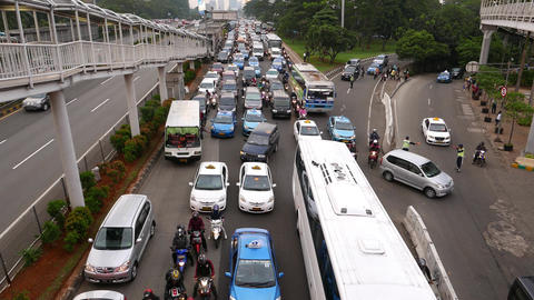 Empty toll road and traffic jam on side street, top view Footage