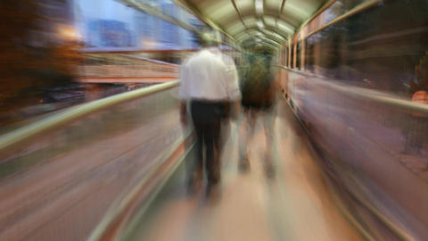 Senior businessman rush through passageway tunnel, motion blur timelapse Footage