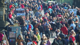 Crowd Of Tourists On The Charles Bridge. Fast Motion stock footage