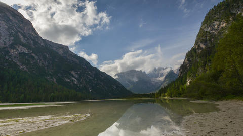 time lapse at duerrensee and mount cristallo dolomites wide 4k 11765 Footage