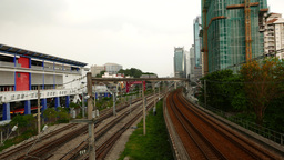 Urban railway view at Kuala Lumpur, near KJ16 Bangsar LRT station Footage