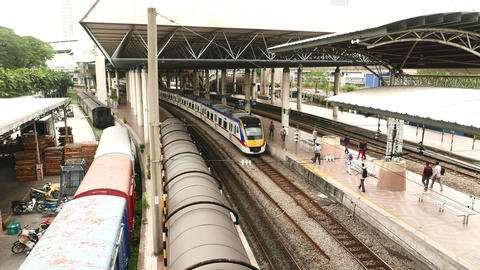 Express Rail Link station train arrive, view from above, platform perspective Footage