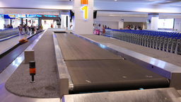 Multi-level Baggage Carousel Upper Chute Belt, Empty Move stock footage