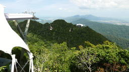 View from Top Cable Car station towards Middle station, sunny mountain forest Live Action