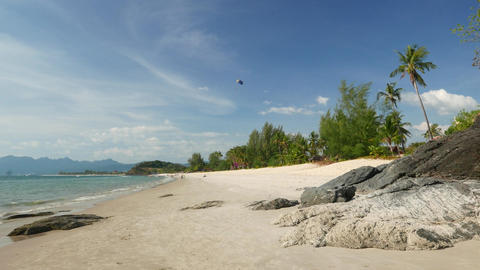 Best island view, palm, clear beach, warm waters, volcanic rock Live Action