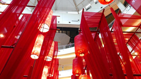 Chinese New Year celebration decoration in mall, oriental bazaar Footage