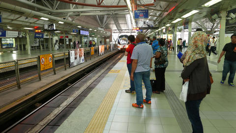 Kelana Jaya Line platform at KL Sentral hub, to KJ1 Gombak direction Footage