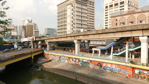 Sungai Kelang river and cityscape in sunlight, clear and bright view Live Action