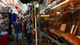 Covered market street narrow passage, walk through stalls Footage