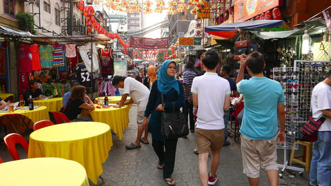 Rush through China town area market, stalls, crowd, restaurants Footage