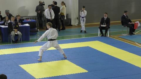 Boys Compete In Karate stock footage