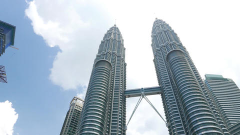 High angle view to Petronas Twins, from ground level Footage