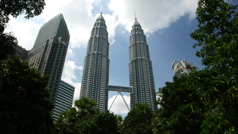 Green area Kuala Lumpur City Centre, Petronas Towers and Trees Footage