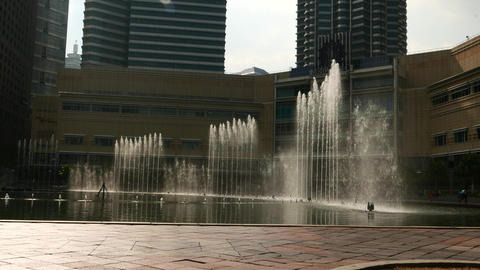 Symphony Lake Singing Fountain, in idle mode, backlight, close up view Footage