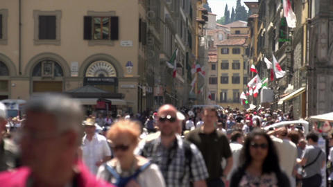 People walking in shopping street Florence, time lapse Live Action
