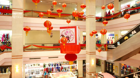 Chinese new year celebration decoration in mall atrium, hanging Footage