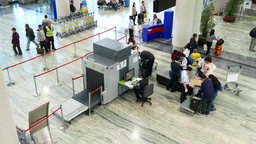 Security check post in modern international airport, top view Footage