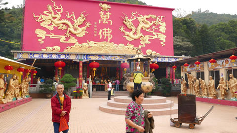 Main shrine and the courtyard of the Ten Thousand Buddhas Monastery Footage