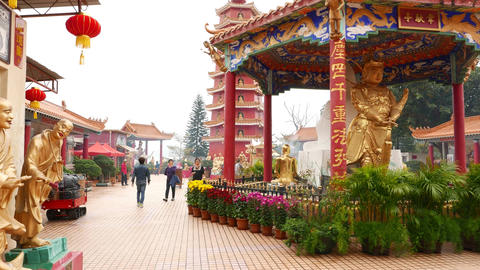 Main Plaza at Ten Thousand Buddhas Monastery, camera move forward Footage