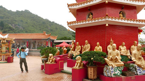 Courtyard, pavilion and pagoda in Ten Thousand Buddhas Monastery Footage