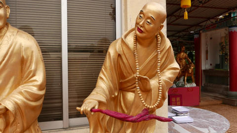 Amazing gold Buddha statues, Main shrine and site of Ten Thousand Buddhas Footage