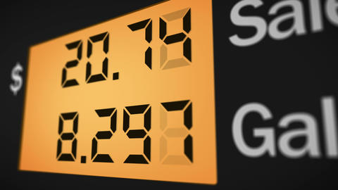 Petrol station pump display, right view, 4K Animation