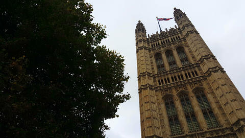 Palace Of Westminster Tower stock footage
