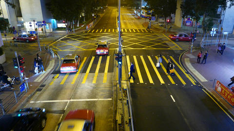 Top view people walking pedestrian crossing on red traffic light, night street Footage