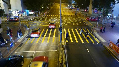 Top view people walking pedestrian crossing on red traffic light, night street Footage