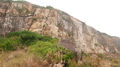 Devil's peak hill rocky side, open siltstone surface, break slope Footage