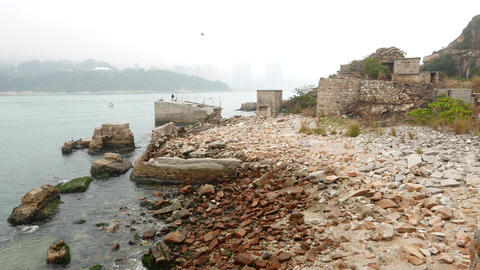 Ruins of stone loading ramps for the former stone quarries in Lei Yue Mun Live Action